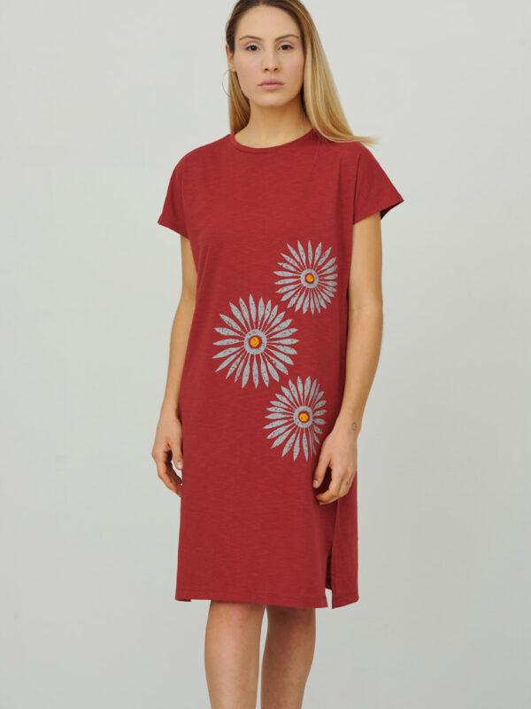 womens_loose-cap-sleeve-short-dress_rosettes_firebrick-red_front_inspira